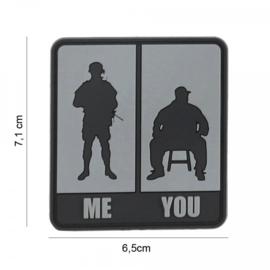 Embleem Me & You - grijs - met klittenband - 3D PVC - 7,1 x 6,5 cm