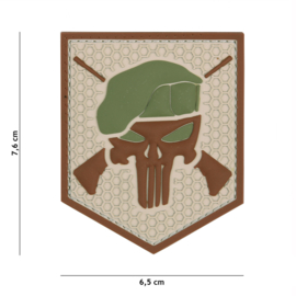 Embleem 3D PVC met klittenband - Punisher Commando Coyote - 7,6 x 6,5 cm