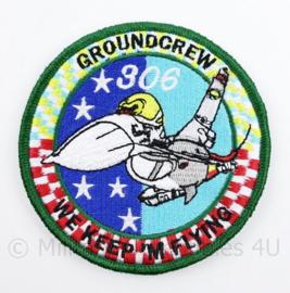 KLu Koninklijke Luchtmacht embleem Groundcrew 306 squadron We Keep 'M Flying  - met klittenband  - 9 cm. diameter