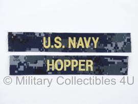 US Navy NWU 1 branch tape/naamlint SET - film Battleship 'Hopper' - nieuw gemaakt