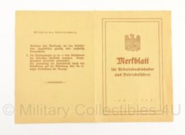 Merkblatt voor in Arbeitsbuch - WO2 Duits - Origineel