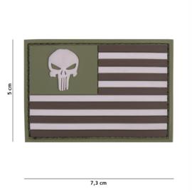 Embleem 3D PVC met klittenband - Punisher USA vlag subdued -7,3 x 5 cm.