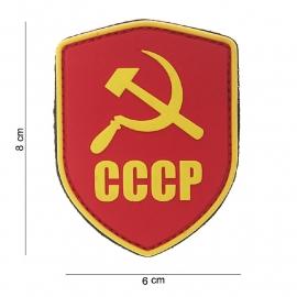 """Uniform landsvlag Rusland """"CCCP"""" embleem 3D PVC - met klittenband - Schild CCCP rood/geel - 8 x 6 cm"""