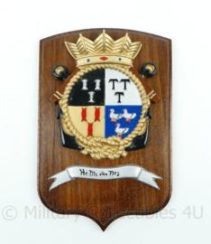 Koninklijke Marine Hr. Ms. van Nes wandbord - afmeting 25 x 18 x 2 cm - origineel