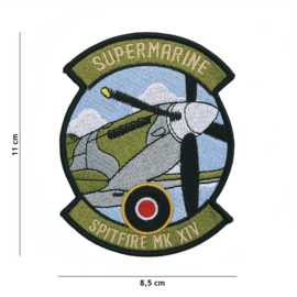 Embleem stof Supermarine Spitfire MK XIV - 11 x 8,5 cm.
