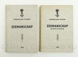 Koninklijke Marine handboeken Zeemanschap 2 delen met afbeeldingen uit 1954 - origineel