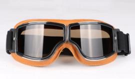 Brommer bril - Bruin leder met donkere glazen
