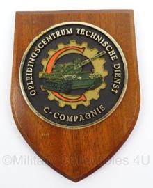 KL Landmacht wandbord Opleidingscentrum Technische Dienst C Compagnie - afmeting 14 x 18,5 cm - origineel