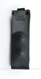 Politie en Britse Police zwarte lederen koppel houder voor magazijn H&R manufacturing - 15 x 4,5 x 5 cm - origineel