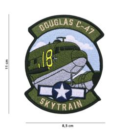 Embleem stof Douglas C-47 SKYTRAIN - 11 x 8,5 cm.