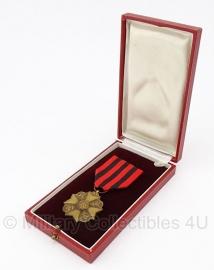 """Belgische """"Burgerlijk ereteken"""" Bronze medaille met doosje - Origineel"""