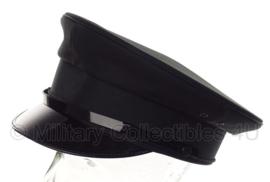 Politie platte pet - zonder insigne  -  Zwart glad wol ,rood gestreepte voering - maat 57 - origineel