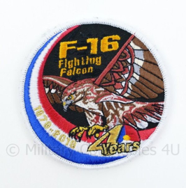 KLU Luchtmacht F16 F-16 Fighting Falcon 40 years embleem - met klittenband - diameter 9 cm