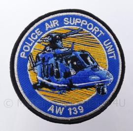 Nederlandse Politie Police Air Support Unit AW 139 embleem -  met klittenband - diameter 9 cm