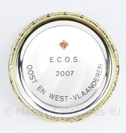Belgisch leger ABL metalen wandbord Ecos 2007 Oost en West Vlaanderen - diameter 17 cm - origineel