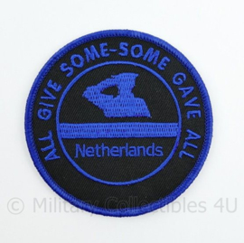 Police Netherlands All Give Some - Some give All embleem - met klittenband  - 9 cm. diameter