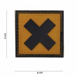 Embleem irriterende stof (kruis)- Klitteband - 3D PVC - 4 x 4 cm