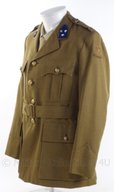 """KL Koninklijke Landmacht officiers DT uniform jas met rang """"kapitein"""" - """"aan en afvoertroepen"""" - jaren 50 met metaaldraad insignes - maat M - origineel"""