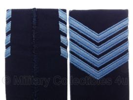 KLU Koninklijke Luchtmacht schouderstukken blauw met blauw - Sergant-Majoor - origineel
