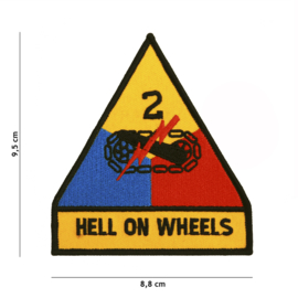 Embleem 2nd Armored Division Hell on Wheels - 9,5 x 8,8 cm.