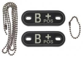 Dogtag ketting met 2 bloedgroep hangers 3D PVC - zwart - bloedgroep B POS