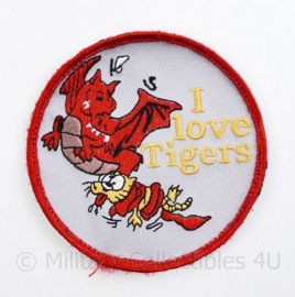 Royal Air Force Dragon and Tigers Patch I Love Tigers - met klittenband -  diameter 9 cm - origineel