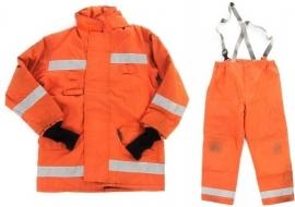 Britse brandweer jas en broek set - ORANJE - Large Tall of Medium Regular origineel