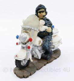 Beeldje Amerikaanse politieagent op motor - 12 x 13 x 5 cm - origineel