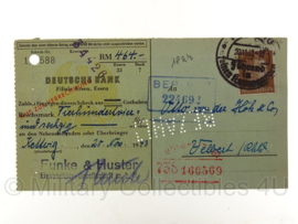 WO2 Document Deutsche bank 1943 check 464 RM ! - origineel