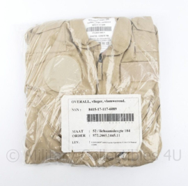 KLU Luchtmacht khaki overall vlieger vlamwerend - maker Texplorer Gmbh 2006 - maat 52/ 184  - nieuw in de verpakking - origineel