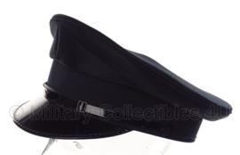 Politie platte pet - zonder insigne - Zwart glad wol, grijs/bruine voering - maat 55 t/m 58 - origineel