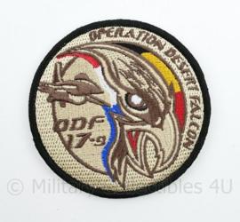 BAF Belgian Air Force Operation Desert Falcon ODF 17-9 embleem  met klittenband- 9 cm. diameter