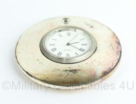 KMAR Marechaussee horloge tafel model zilver - doorsnede 7 cm - origineel