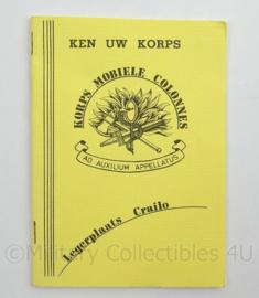 KL Landmacht Instructieboekje Korps Mobiele Colonnes Legerplaats Crailo - 1987 - afmeting 10,5 x 15 cm - origineel