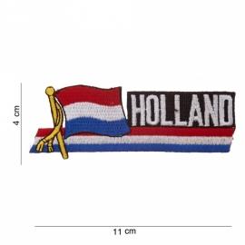 """Uniform landsvlag Nederland wapperende vlag voor uniform - met tekst """"Holland"""" - 11 x 4 cm."""