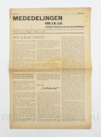 Krant Mededelingen CB LO van 5 juli 1945 - Landelijke organisatie voor hulp aan onderduikers - origineel