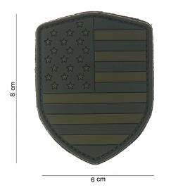 Uniform landsvlag USA embleem 3D PVC schild - klittenband - 8 x 6 cm - Groen