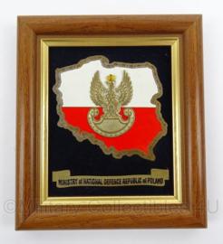 Poolse leger wandbord Ministry of National Defense Republic of Poland - afmeting 14 x 16 cm - origineel