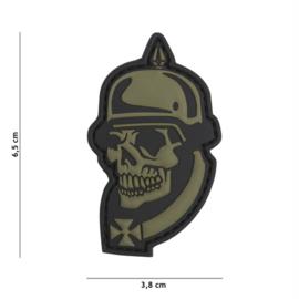 Embleem 3D PVC met klittenband - WW1 Skull - groen - 6,5 x 3,8 cm.