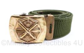Defensie broekriem groen met logo Luchtdoelartillerie  - 94,5 x 4 cm - origineel