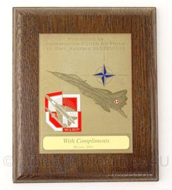 Pools leger WLOP Commander of Polish Air Force wandbord - 14,5 x 18 cm - origineel