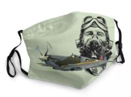 Herbruikbaar en wasbaar mondkapje - 3-lagen - met neusklem en oor elastiek - Spitfire Pilot