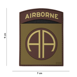 Embleem 3D PVC - met klittenband - 82nd Airborne Division Subdued  - 7,7 x 5 cm