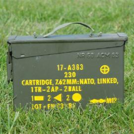 KL Nederlandse leger .30 7,62mm NATO munitiekist - (geocaching formaat) 8 x 25,5 x 18 cm - TOPSTAAT - origineel