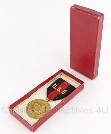 """Belgische """"N.S.B"""" gouden medaille met doosje - Origineel"""