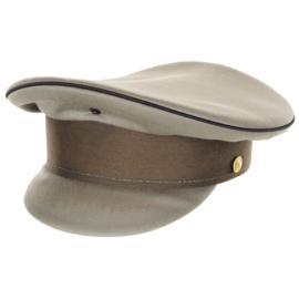 Militaire platte pet - zwarte bies - licht gebruikt - 54 tm. 57 cm.  - origineel