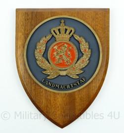 Landmachtstaf wandbord met handtekening Luitenant Generaal C. de Jager - afmeting 18 x 14 x 1,5 cm - origineel