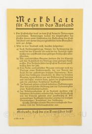 WO2 Duits Merkblatt fur reisen in das ausland - 9 x 15 cm - origineel