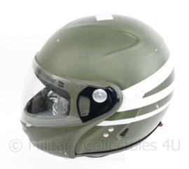 Militaire motorhelm groen voor decoratie - binnenwerk matige staat - 59/60 = L - origineel