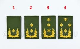 KL Nederlandse leger rangembleem met klittenband GROEN - generaals - 5 x 8 cm
